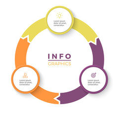 Circular arrows for infographics. Diagram with 3 steps, options, parts.