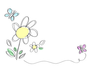 Simple flowers and butterflies, hand-drawn card