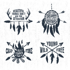 Hand drawn tribal labels set with bonfire, arrows, dream catcher, and feathers vector illustrations and inspirational lettering.