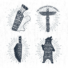 Hand drawn tribal labels set with quiver, totem pole, knife, and grizzly bear vector illustrations and inspirational lettering.
