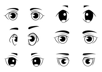 Set of anime style eyes isolated on white background