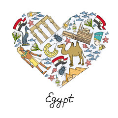 Stylized heart with hand drawn colored symbols of Egypt