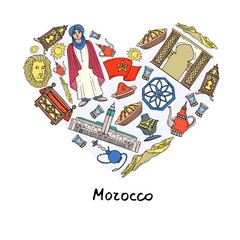 Stylized heart with hand drawn colored symbols of Morocco
