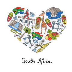 Stylized heart with hand drawn colored symbols of South Africa