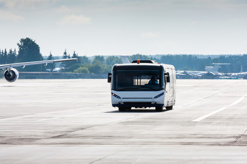 Airport bus on the main taxiway