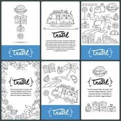 Vector set of prepared cards with hand drawn symbols of travel and tourism