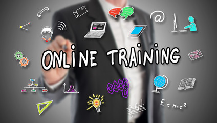 Online training concept drawn by a businessman