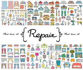 Vector set with hand drawn colored doodles on the  theme of repair. Flat illustrations of furniture, curtains, lamps, houses, building tools. Sketches for use in design