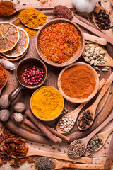Foto op Canvas Kruiden spices and herbs on wooden table.