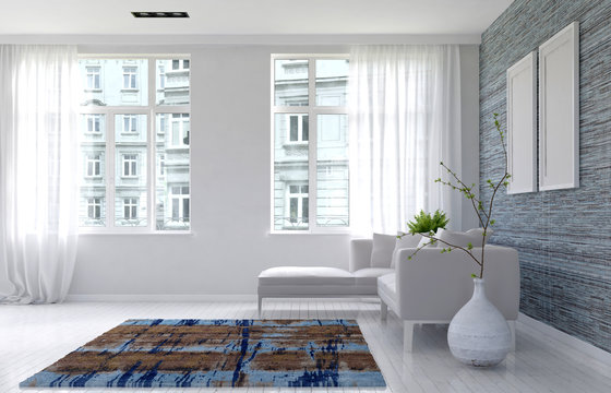 3D render of living room with urban background