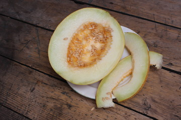 Cut melon on plate
