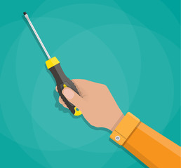 Human hand and screwdriver with plastic handle