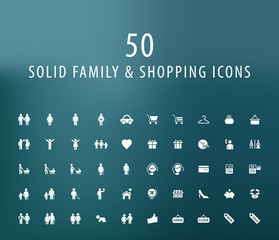 Set of 50 Universal Family and Shopping Icons. Isolated Elements.