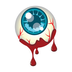 Vector of eye ball cover with blood for Halloween