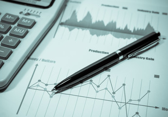 Business graph and financial report. finance and banking concept