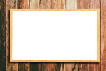 Mock up blank wooden picture frame on wooden wall