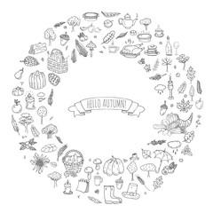 Hand drawn doodle Autumn icons set. Vector illustration. Fall symbols collection. Cartoon various seasonal elements: turkey, harvest, vegetables, pumpkin pie, leaves, trees, hot tea, wine, mushrooms