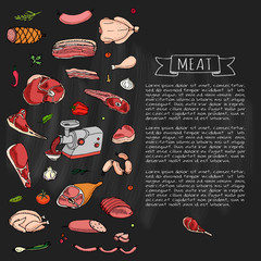 Hand drawn doodle set of cartoon different kind of meat and poultry. Vector illustration set. Sketchy food elements collection: Lamb, Pork, Ham, Mince, Chicken, Steak, Bacon, Sausage, Salami, Veggie.