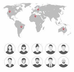 Set of avatar icons. Global communication. Concept. Illustration in flat style for your design or application. World map