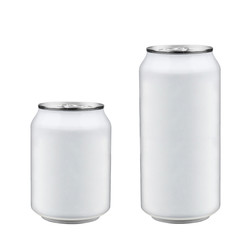 isolated two aluminum soda cans