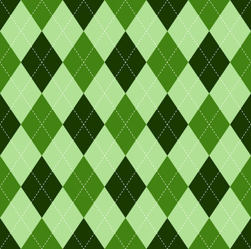 Seamless argyle pattern in shades of green with white stitch.