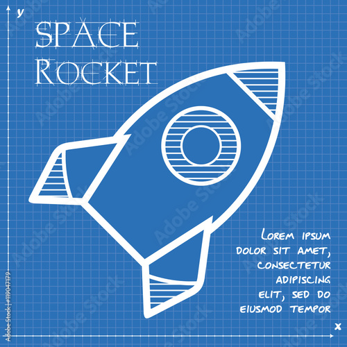 space rocket flying in sky blueprint design vector illustration stockfotos und lizenzfreie. Black Bedroom Furniture Sets. Home Design Ideas