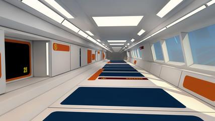Futuristic hall alien spaceship