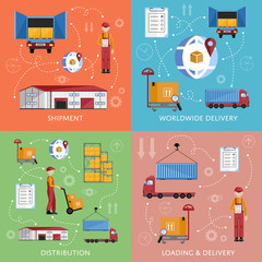 Warehouse process infographics four banners. Supply chain illustration. Logistic concept vector illustration. Worldwide delivery infographics. Distribution process.