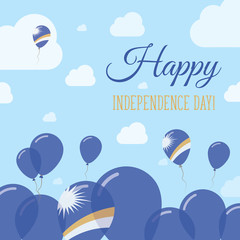 Marshall Islands Independence Day Flat Patriotic Design. Marshallese Flag Balloons. Happy National Day Vector Card.
