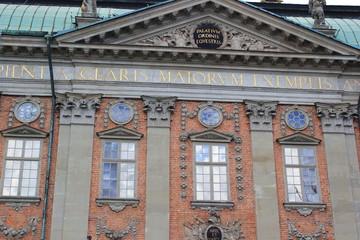 Die Fassade vom Ritterhaus (Riddarhuset) in der Altstadt von Stockholm (Schweden)