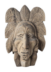 old wood carved of indian chief head isolated on white