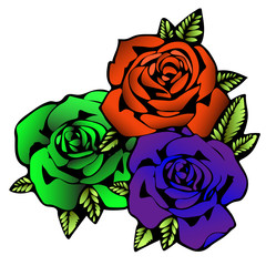 Rose flower, tattoo sketch. Three flowers roses in unusual bright colors creative, purple bud,  orange and green rosebud. Vector illustration