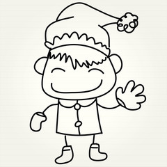 hand drawing cartoon happy christmas