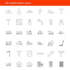 Vector outline construction icons on white background