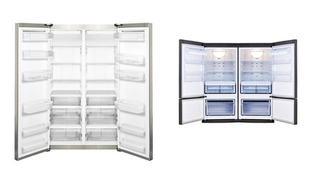 refrigerators with open door isolated