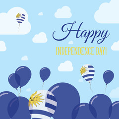 Uruguay Independence Day Flat Patriotic Design. Uruguayan Flag Balloons. Happy National Day Vector Card.