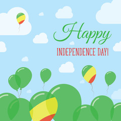 Congo Independence Day Flat Patriotic Design. Congolese Flag Balloons. Happy National Day Vector Card.