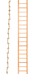 Wooden ladder with rope