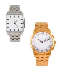 golden and silver modern wrist watch
