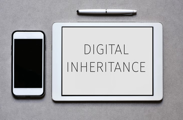 smartphone and tablet with text digital inheritance