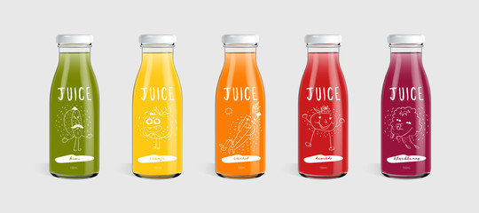Glass juice bottle brand concept. Packaging vector