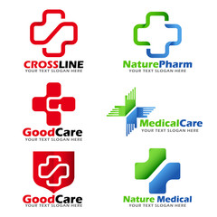 Cross sign for Medical , clinic and Natural care logo vector set design