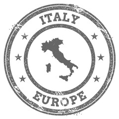 Italy grunge rubber stamp map and text. Round textured country stamp with map outline. Vector illustration.