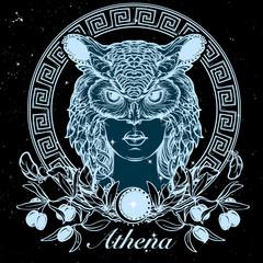 Athena sketch isolated on a black nightsky background
