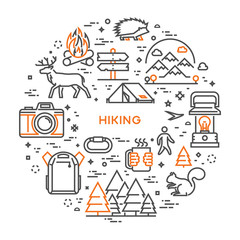 Vector line design concept for hiking