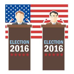 Usa 2016 election card with country flag and candidates character at the tribune. Digital vector image