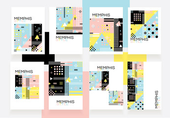 Modern brochure set in colorful memphis style