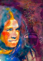 Coffee or tea time. Painting illustrtion