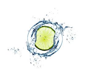 Slice of  lime in water splash