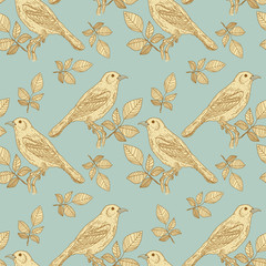 Birds vintage seamless pattern vector